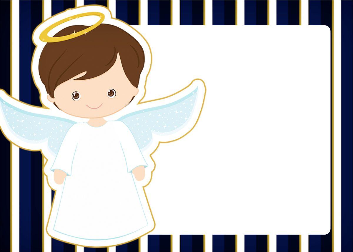 Convite 2 Batizado Menino Azul Marinho E Branco Com Imagens