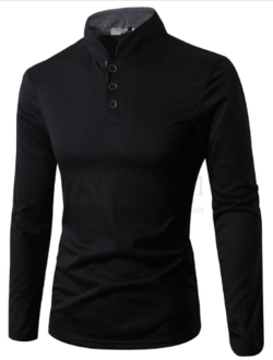 18b856ee Mens Collarless Long Sleeve Polo | MENS CLASSY POLO SHIRTS | Long ...