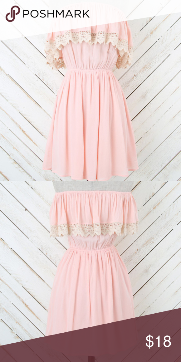 f92a674798a60 Altar d State Strapless Pale Pink Peach Dress Just a really cute dress-  Flirty and Sweet! Features Ivory Crochet Ruffle and Elastic Waist.