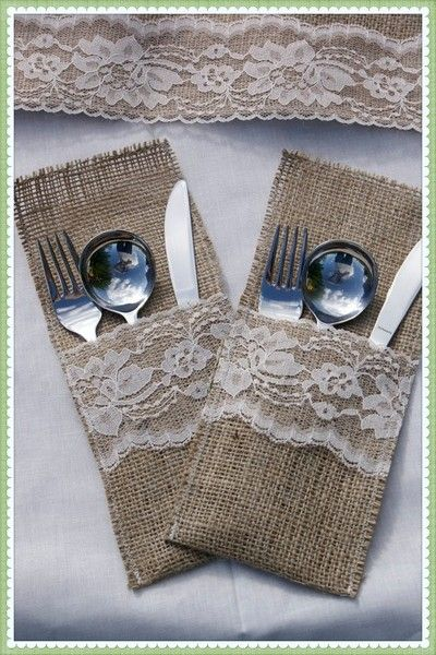 Burlap And Lace Table Runner Flatware Holder