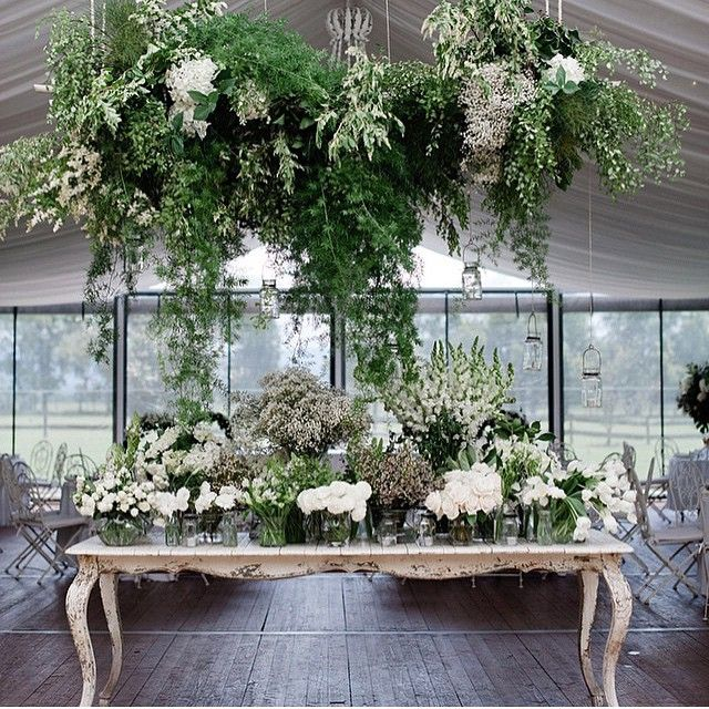 Green And White Florals Reception And Overhang Decor Foliage