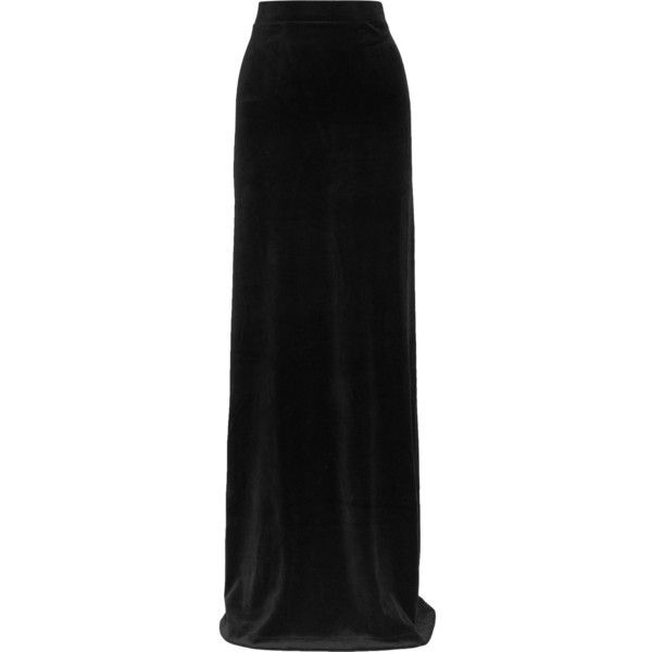 Vetements + Juicy Couture cotton-blend velour maxi skirt ($1,115) ❤ liked on Polyvore featuring skirts, black, ankle length skirts, velour skirt, maxi skirt, shiny skirt and wet look skirt
