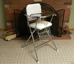 Vintage Cosco Peterson High Chair Retro Folding Metal Chrome