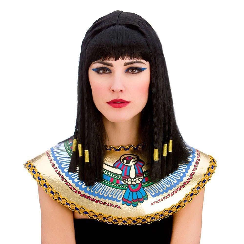 Black Cleopatra Egyptian Princess Wig Plaited Adults Womens Fancy Dress Costume