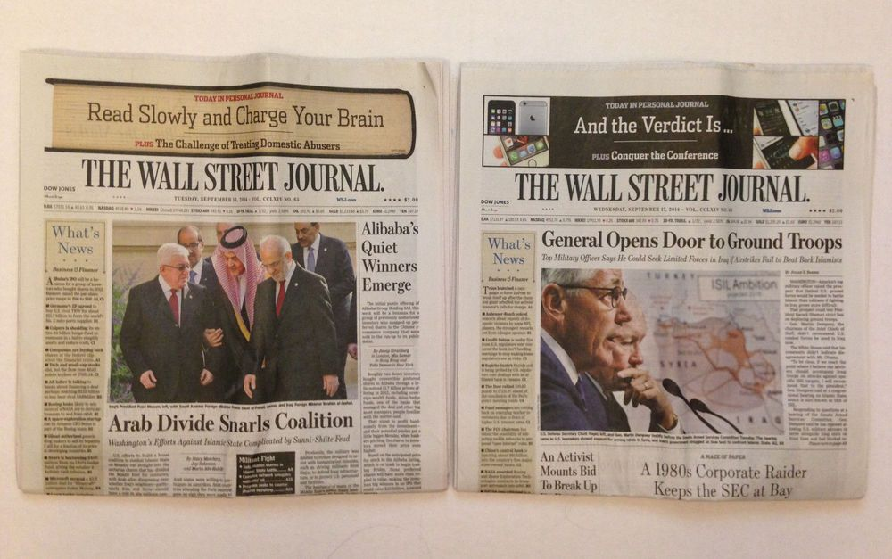 lot of 2 wsj wall street journal newspaper tues wed on wall street today id=28866