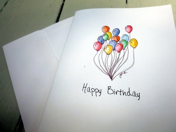 Balloon Art Birthday Cards Watercolor Notecards Set Of 8