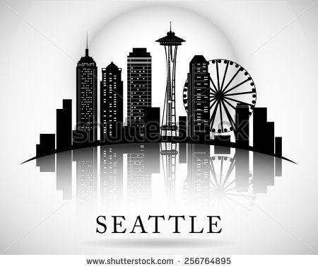 Us Wheel Free Vector Seattle Skyline Painting Seattle Skyline Drawing Seattle Skyline Tattoo