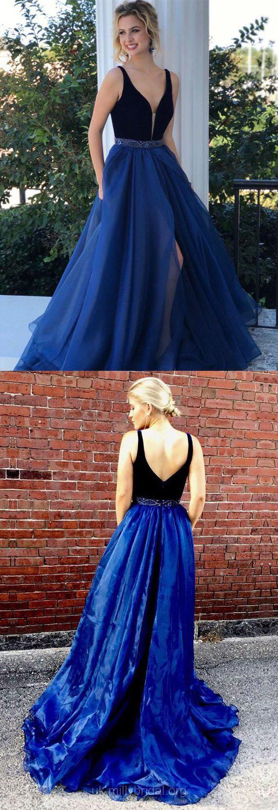 Long prom dresses blue velvet prom dresses vneck graduation