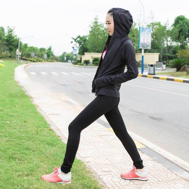 Dry Fit Sport Full Zip Thumbhole Long Sleeve Women Hoodie - with Front Pocket