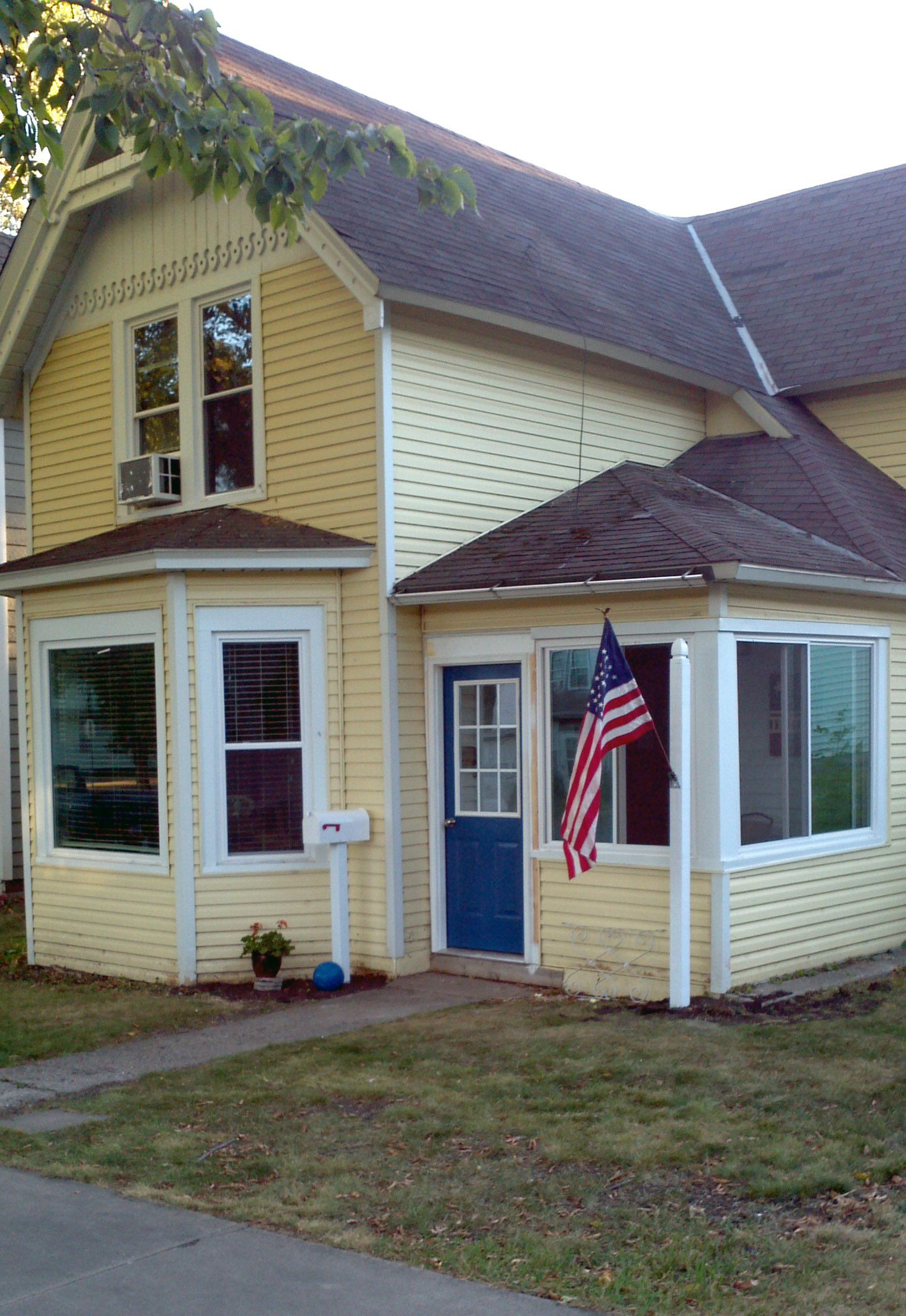 blue door, yellow house | front door color change | pinterest