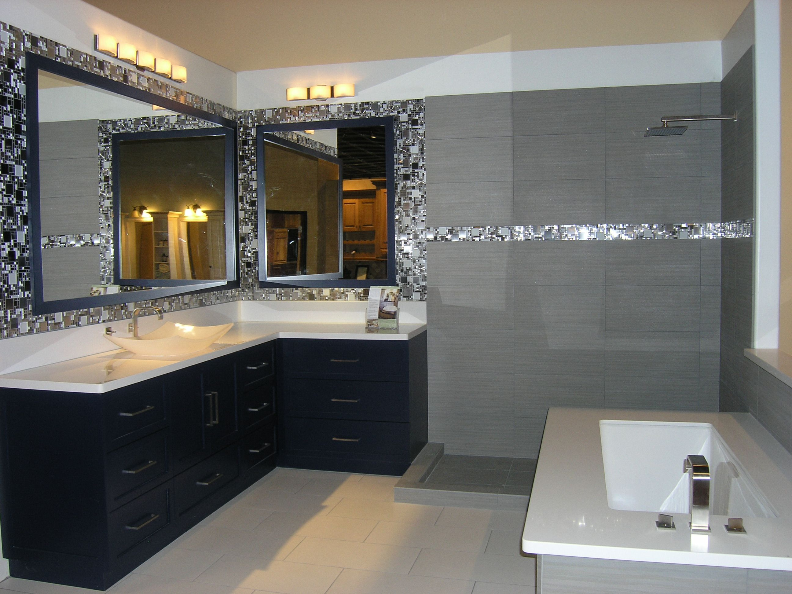 Gentil A Sleek And Modern Bathroom Space In The Classy Closets Chandler, Arizona  Showroom. We Love The Mix Of Dark Blue, White And Gray. Isnu0027t Clean,  Openness Of ...