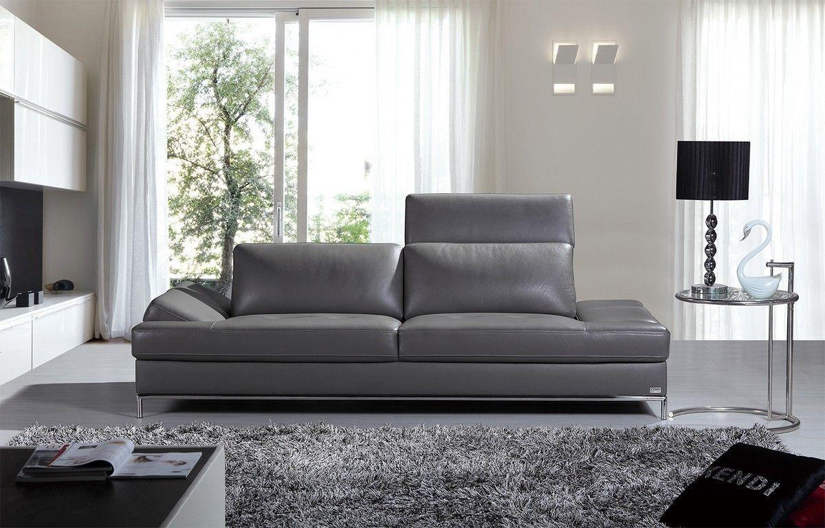 K8484 Modern Dark Grey Italian Leather Sofa Stylish Design