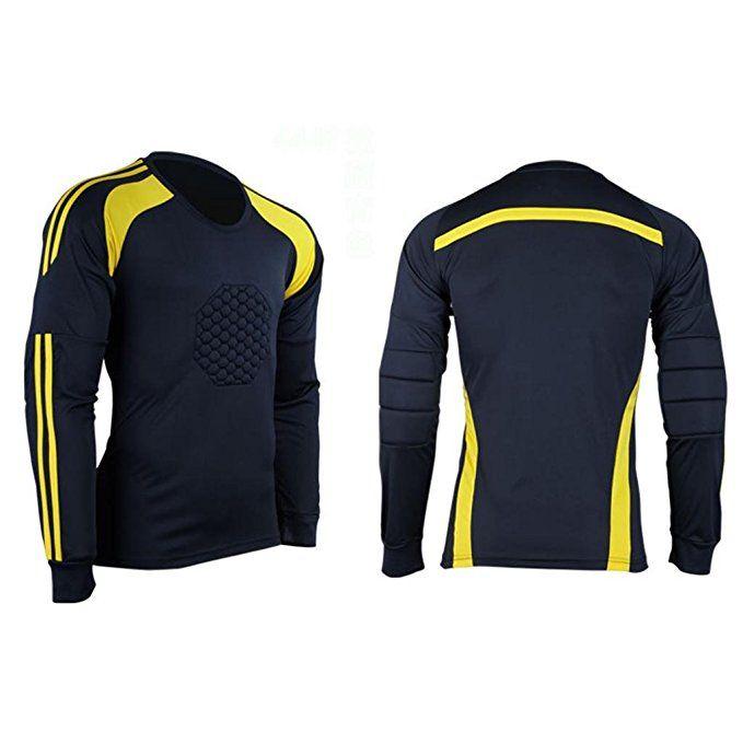 73ec5d56868 COOLOMG Men Soccer Keeper Football Goalkeeper Goalie Foam Padded Jersey  Shirt Tops New   Sports