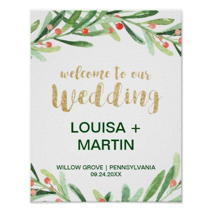 Christmas Holly Wreath Wedding Welcome Poster | Zazzle.com
