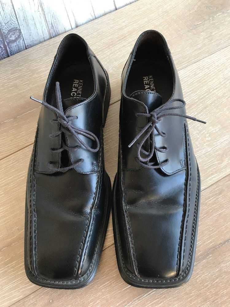 Kenneth Cole Reaction Black Square Toe Stylish Lace Up Oxfords Dress