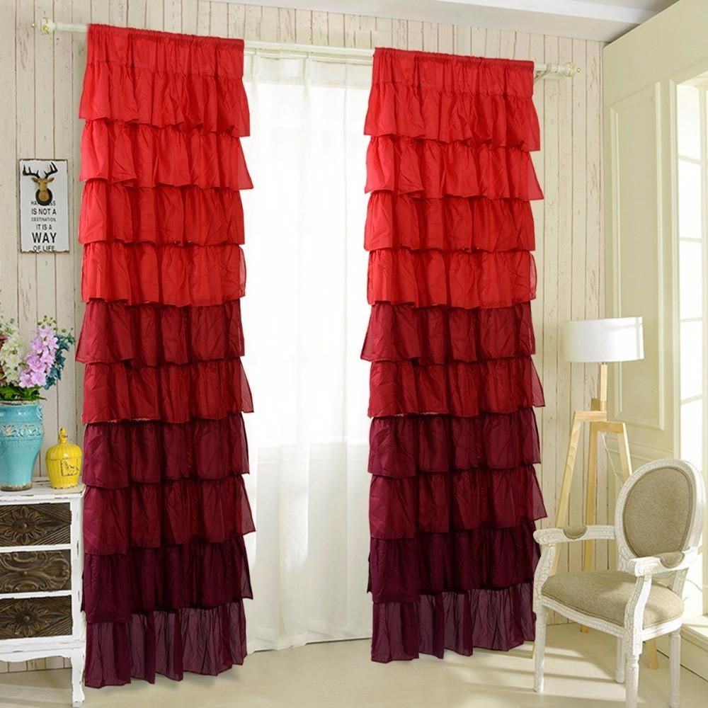 "54"" X 84"" Ombre Ruffle Curtains For A Little Girl Or"