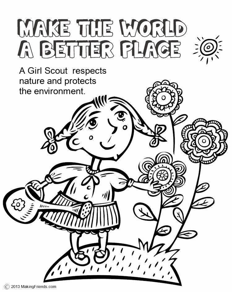 girl scouts make the world a better place this coloring page will help the girls - Coloring Page Girl