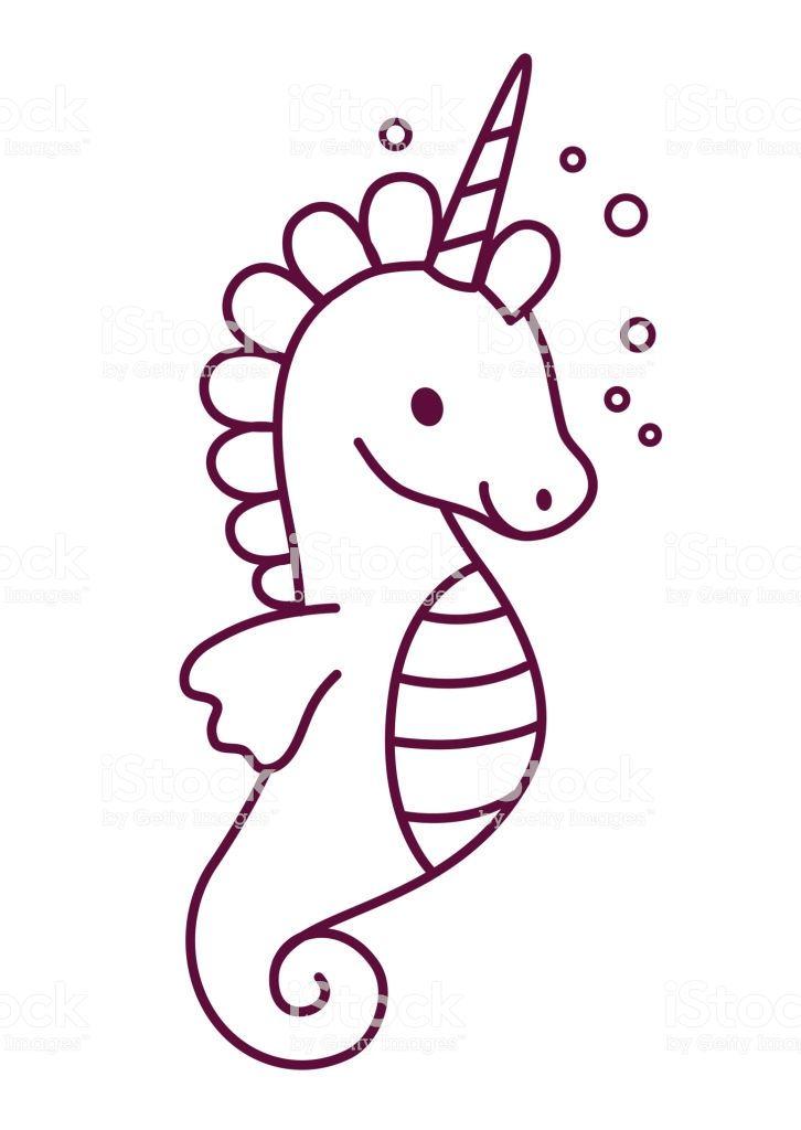 Cute Sea Horse Unicorn Simple Cartoon Coloring Page Vector Illustration Simple Flat Line Doodle Coloring Page I Simple Cartoon Elephant Doodle Easy Doodle Art