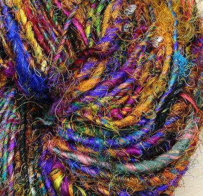Wild Peacock Recycled Silk Sari Resolution Sparkle Yarn by Darn Good Yarns 62yd | eBay