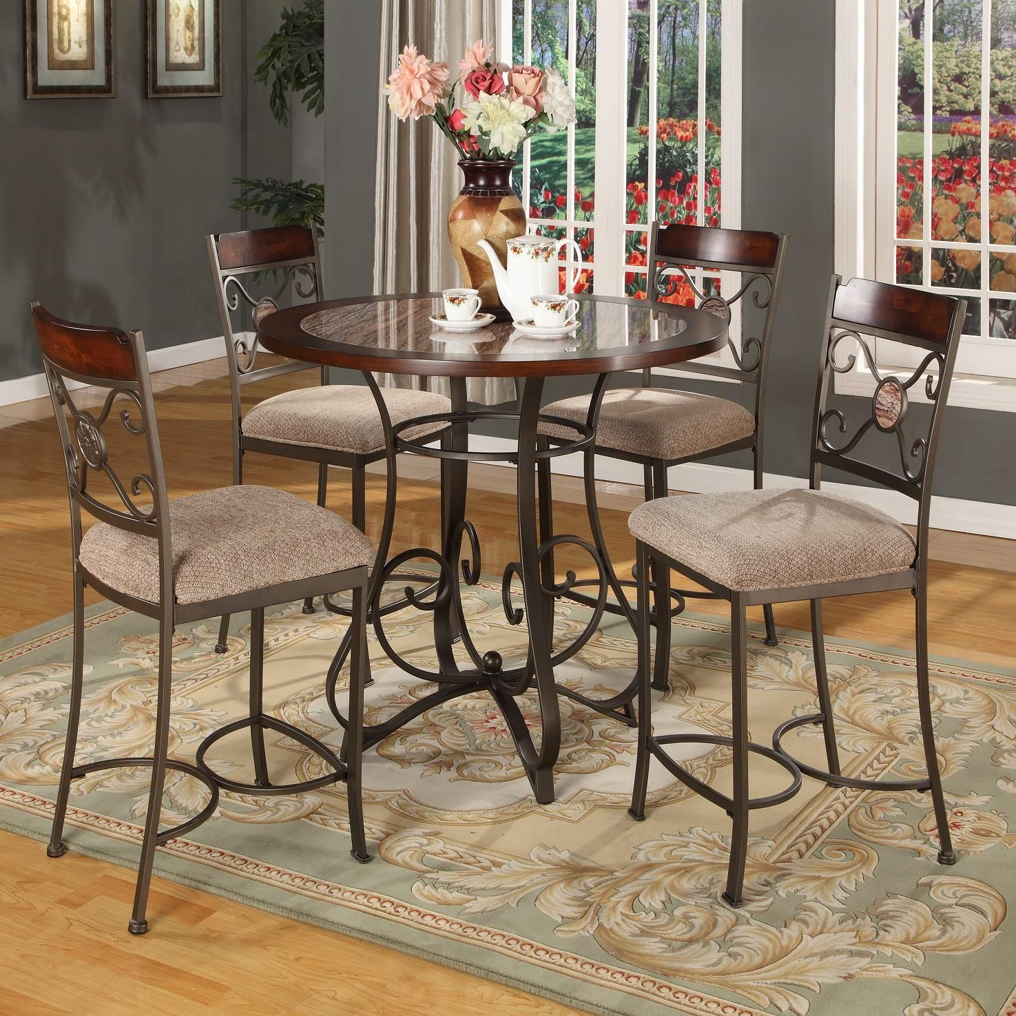 DC067 Metal Pub Table and Chair Set