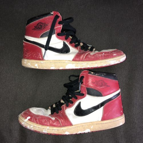 39101434dea035 Air Jordan 1 1985 Original Vintage Size 9 Used Chicago Bulls Red Black White
