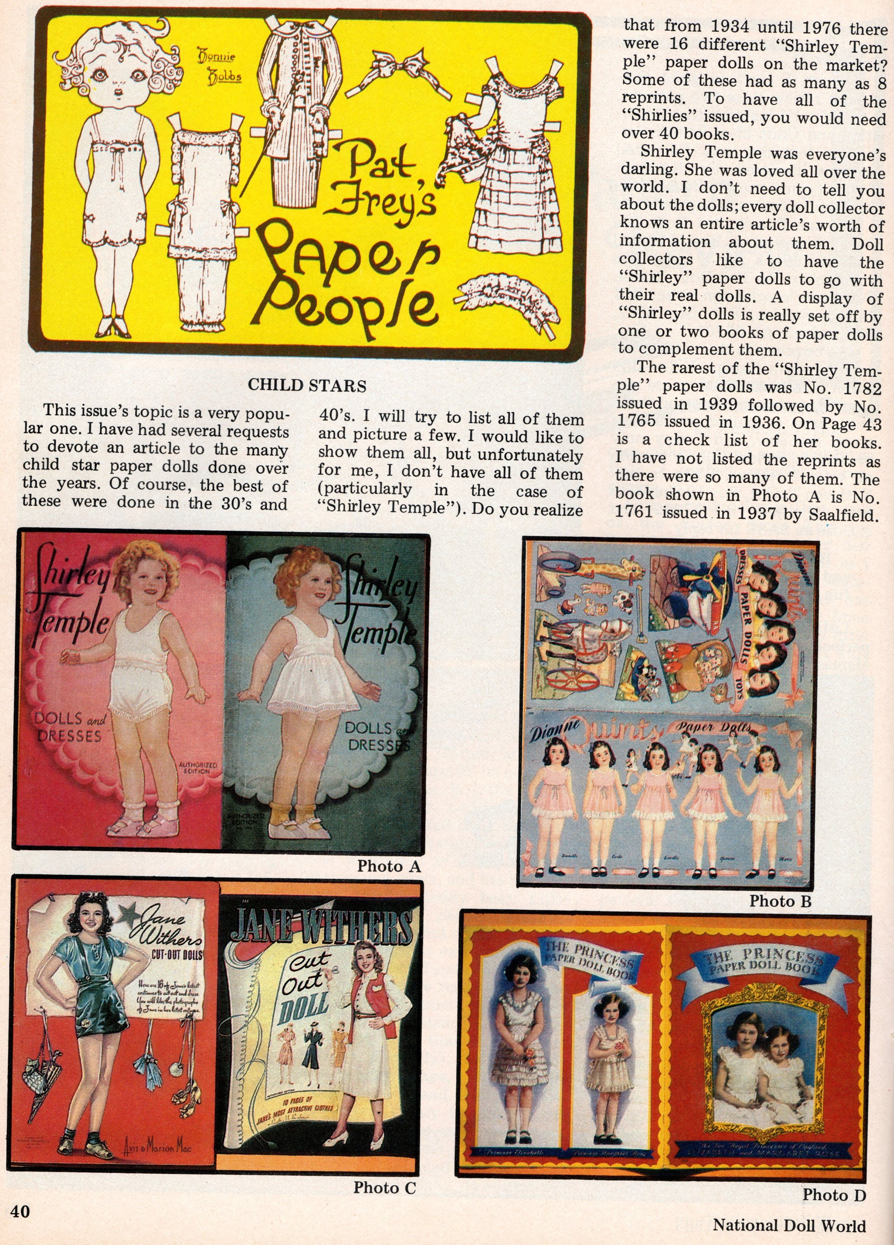 """""""Pat Frey's Paper People Child Stars"""" article National"""