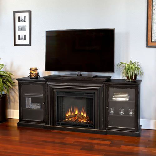 Real Flame Frederick Electric Fireplace Media Console Blackwash