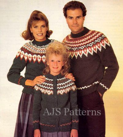 PDF Knitting Pattern for Family Nordic Fair Isle Cardigan ...