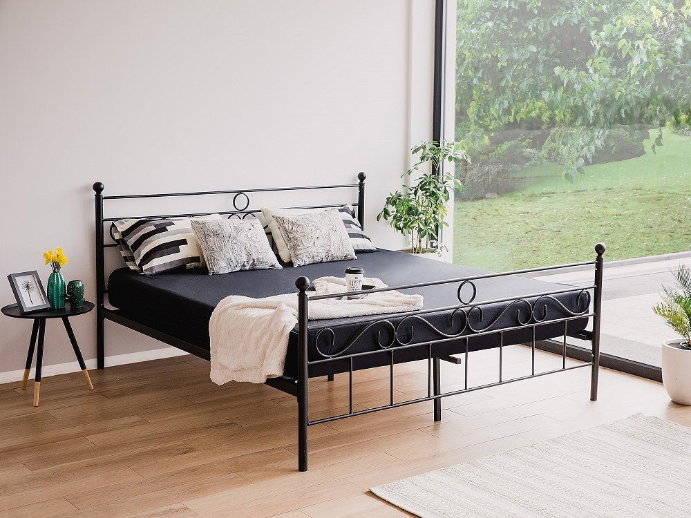 Metal Bed - Super King Size Bed Frame - 180x200 cm - Black - LEPUS