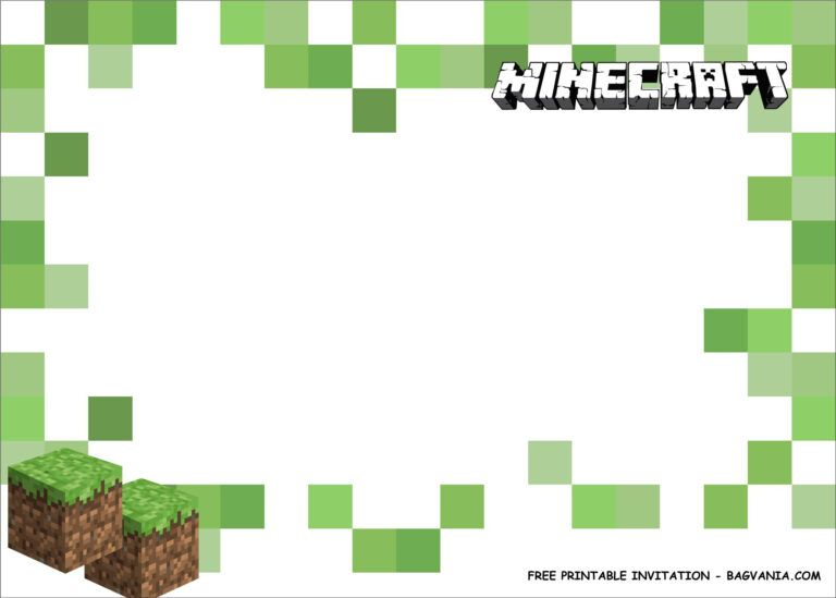Free Printable Minecraft Birthday Party Kits Template With Minecraft Birthda Minecraft Birthday Card Minecraft Birthday Invitations Minecraft Birthday Party