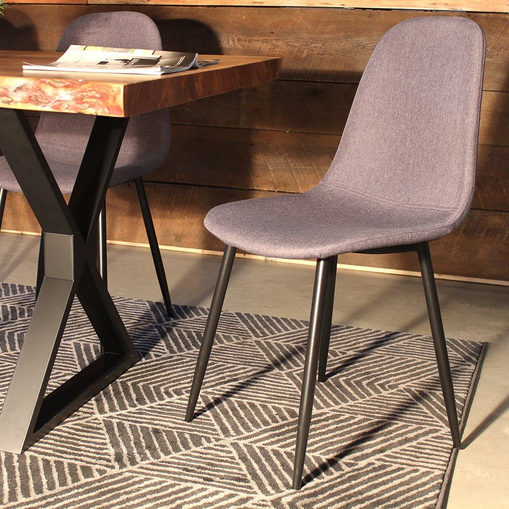 MILAN Eames Style Dark Grey Fabric Dining Chair With Black