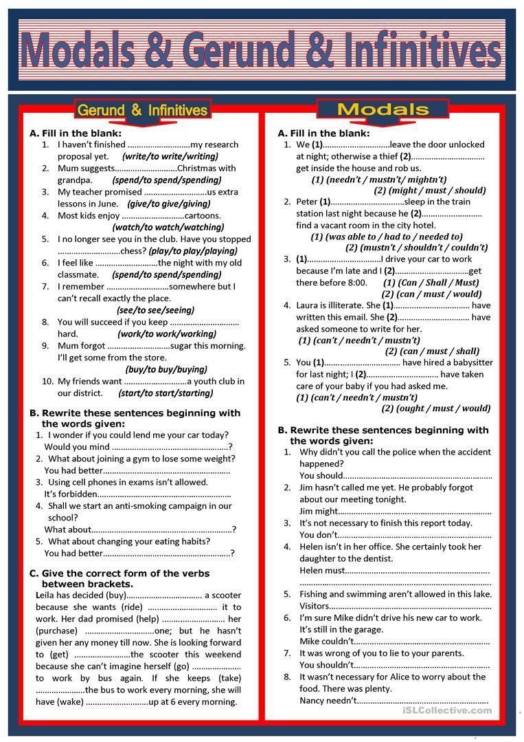Modals \u0026 Gerund \u0026 Infinitives worksheet - Free ESL printable worksheets  made by t…   Teaching english grammar [ 1079 x 763 Pixel ]
