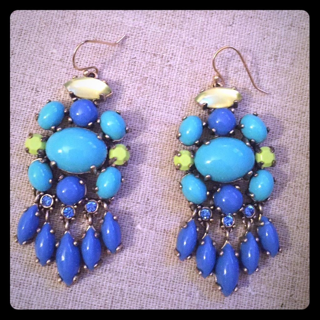 Stella Dot Aviva Chandelier Earrings Blue Green