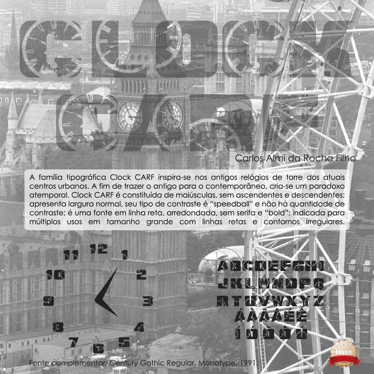 """A família tipográfica Clock CARF inspira-se nos antigos relógios de torre dos atuais centros urbanos. A fim de trazer o antigo para o contemporâneo, cria-se um paradoxo atemporal. Clock CARF é constituída de maiúsculas, sem ascendentes e descendentes; apresenta largura normal, seu tipo de contraste é """"speedball"""" e não há quantidade de contraste; é uma fonte em linha reta, arredondada, sem serifa e """"bold""""; indicada para múltiplos usos em tamanho grande com linhas retas e contornos…"""