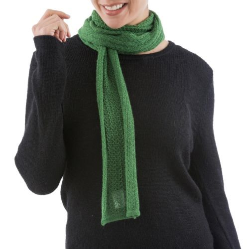 Baby-Alpaca-Scarf-Green-Crochet-039-Winter-Forest-039-NOVICA-Peru