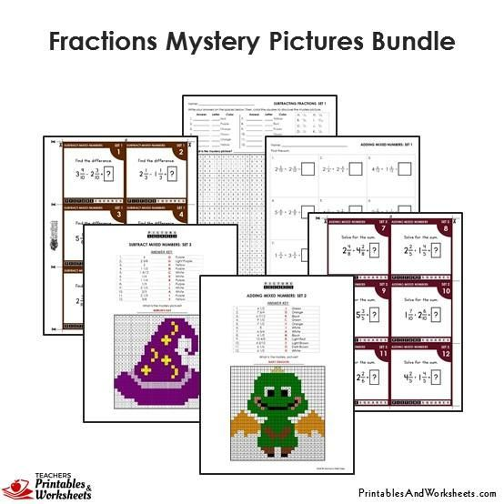 4th Grade Fraction Mystery Pictures Coloring Worksheets / Task Cards ...