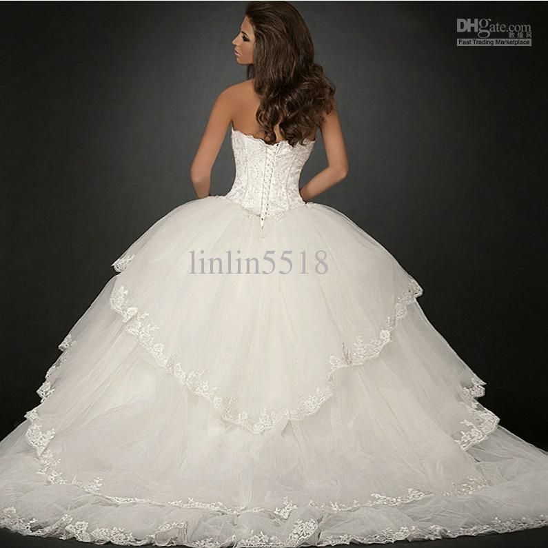 2013 Luxury Organza Big Skirt Bride Ball Gown Wedding Dresses 2013 ...