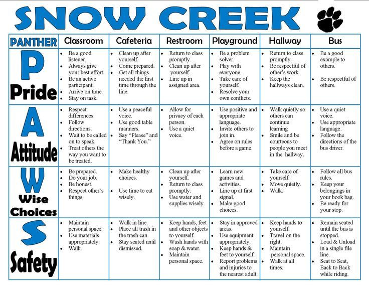 Sample Elementary school wide behavior matrix Find the PBIS - behavior intervention plan