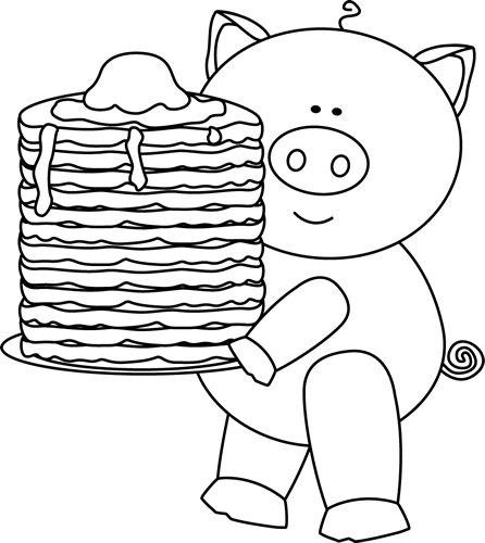 Pig with Pancakes Clip Art Black and White Pig with Pancakes