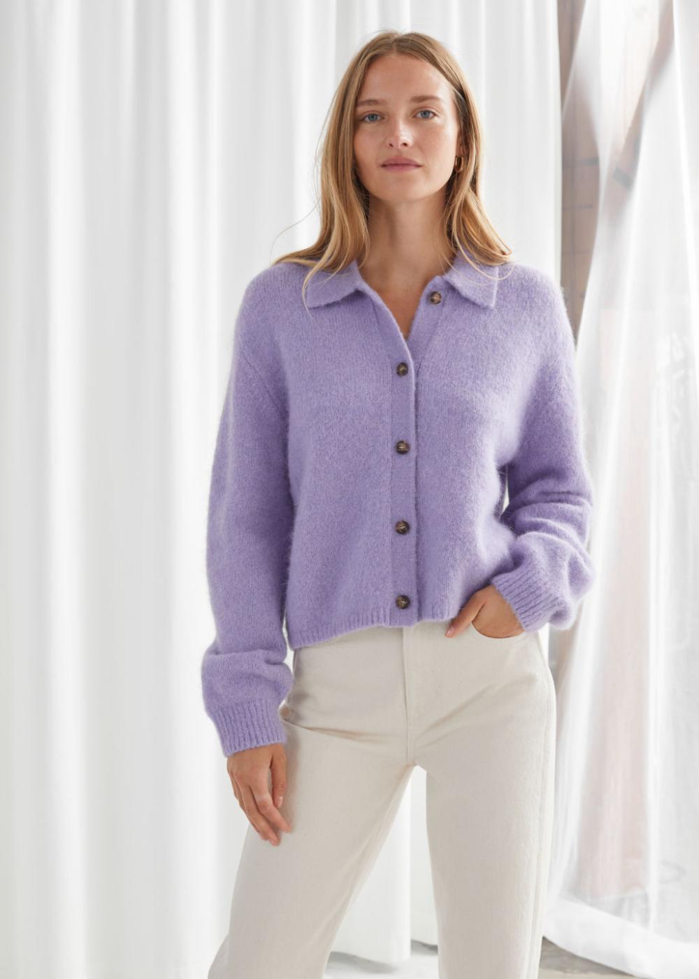 Wool Blend Tortoise Button Cardigan in 2020 | Puff sleeve
