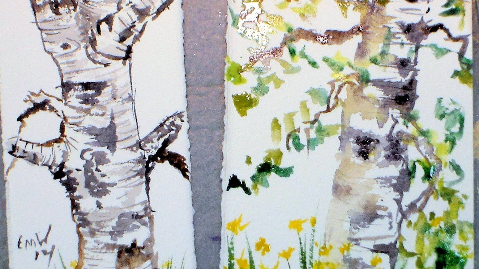 Birch Tree Sketch With Watercolor Tutorial Watercolour Tutorials