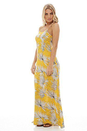 4dff76c8684 AX Paris Womens Strappy Leaf Print Maxi DressYellow Size6 --    AMAZON BEST  BUY