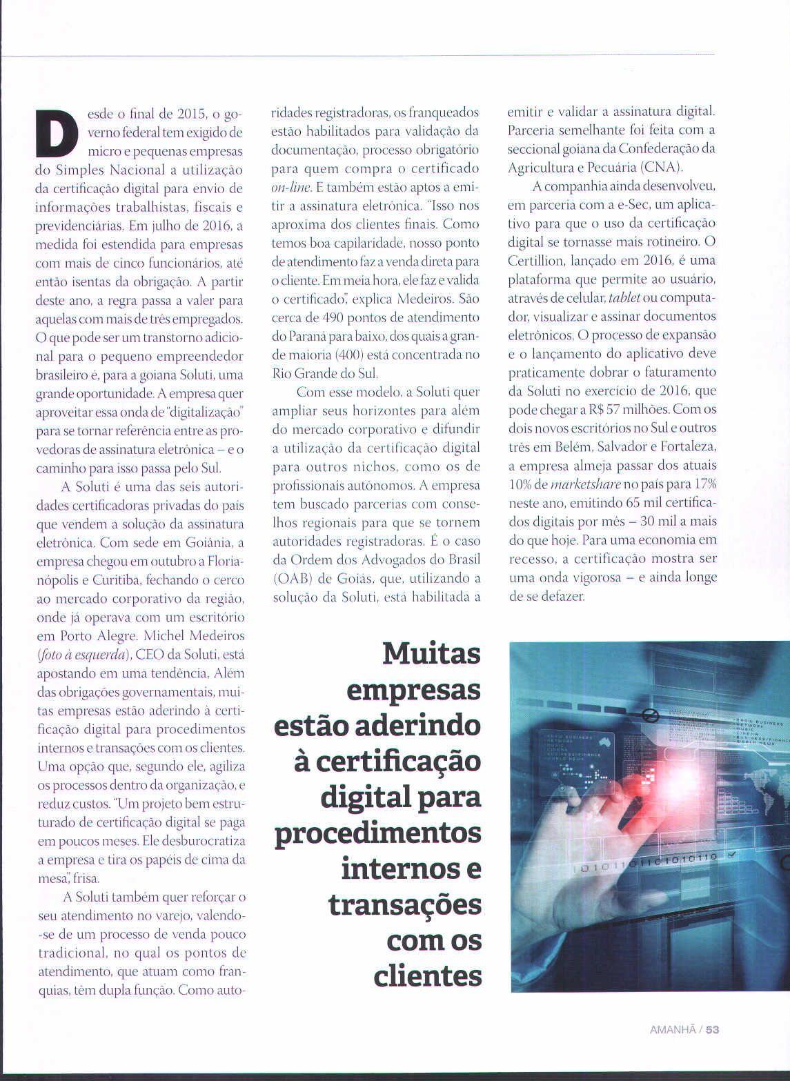 Título: Para surfar na onda da certificação Veículo: Revista Amanhã Data: 02/2017 Cliente: Soluti