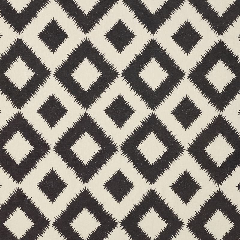 Puka Diamond Black Sand F Schumacher Linen Fabrics