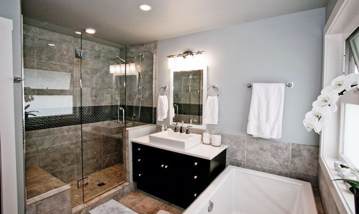 small 4 piece bathroom. large shower wall tiles not staggered  Downstairs Bath Pinterest Large Wall and Walls