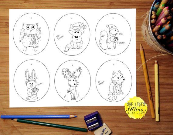 Animal Gift Tag Printable Children Adult Coloring Page Christmas