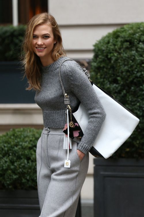 gray on gray, from the sweater to the tailored pants and that tote. Shop the look...