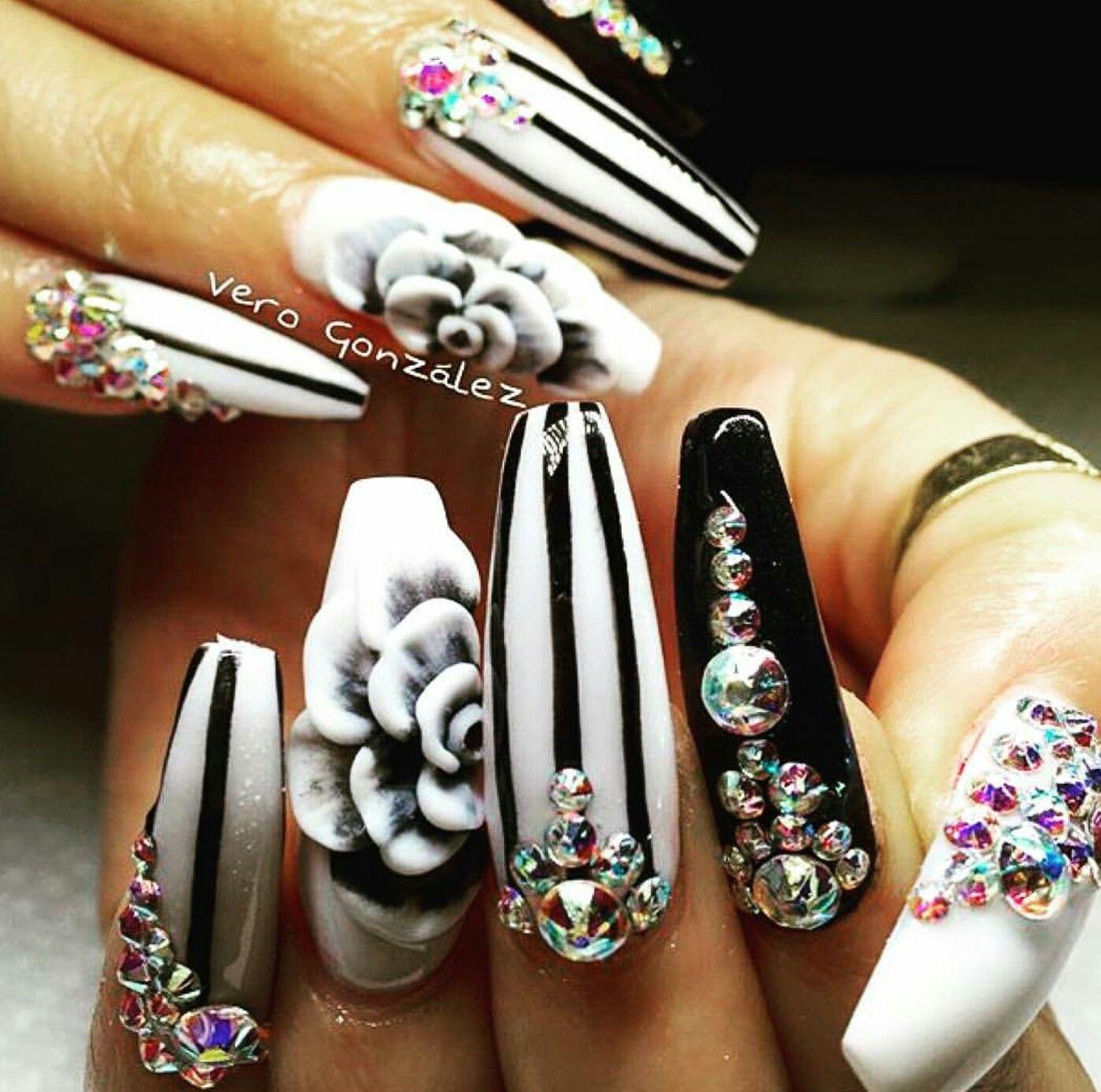 white black rhinestone nails design