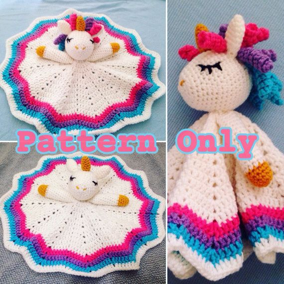 Crochet Rainbow Unicorn Lovey/Security Blanket**Pattern Only | Manta ...