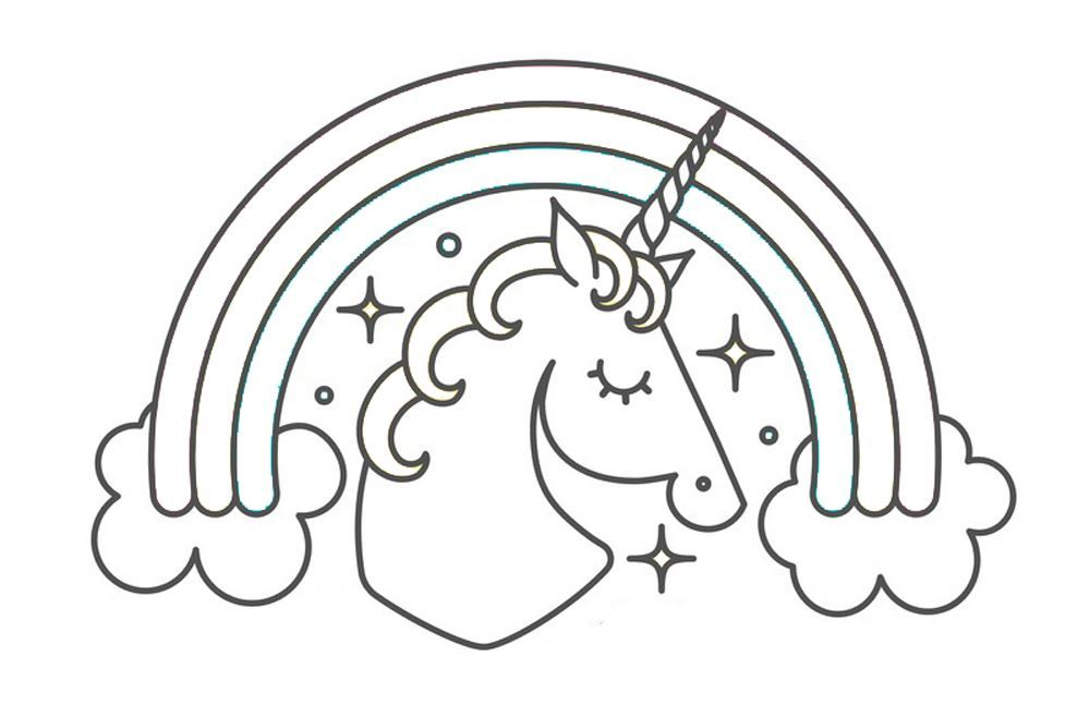 Unicorn Template with Rainbow | Free Printable Coloring ...